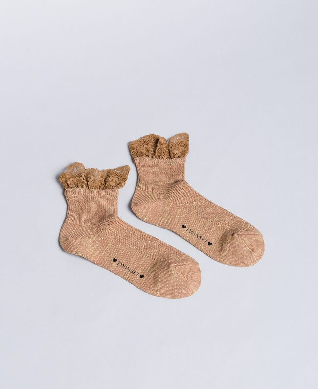 Short lurex socks with lace Cookie Beige Woman OA8T3L-01
