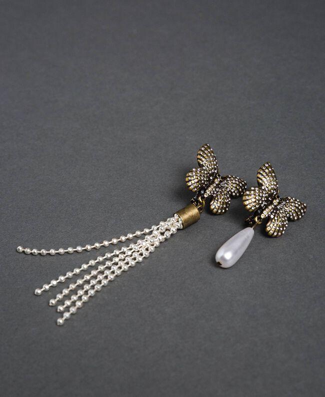 Boucles d'oreilles clip avec papillons et pendentifs Laiton Usé Femme 192TA4363-01