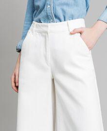 Weite Hose aus Baumwolle Weiß Schnee Frau 191TP2191-04