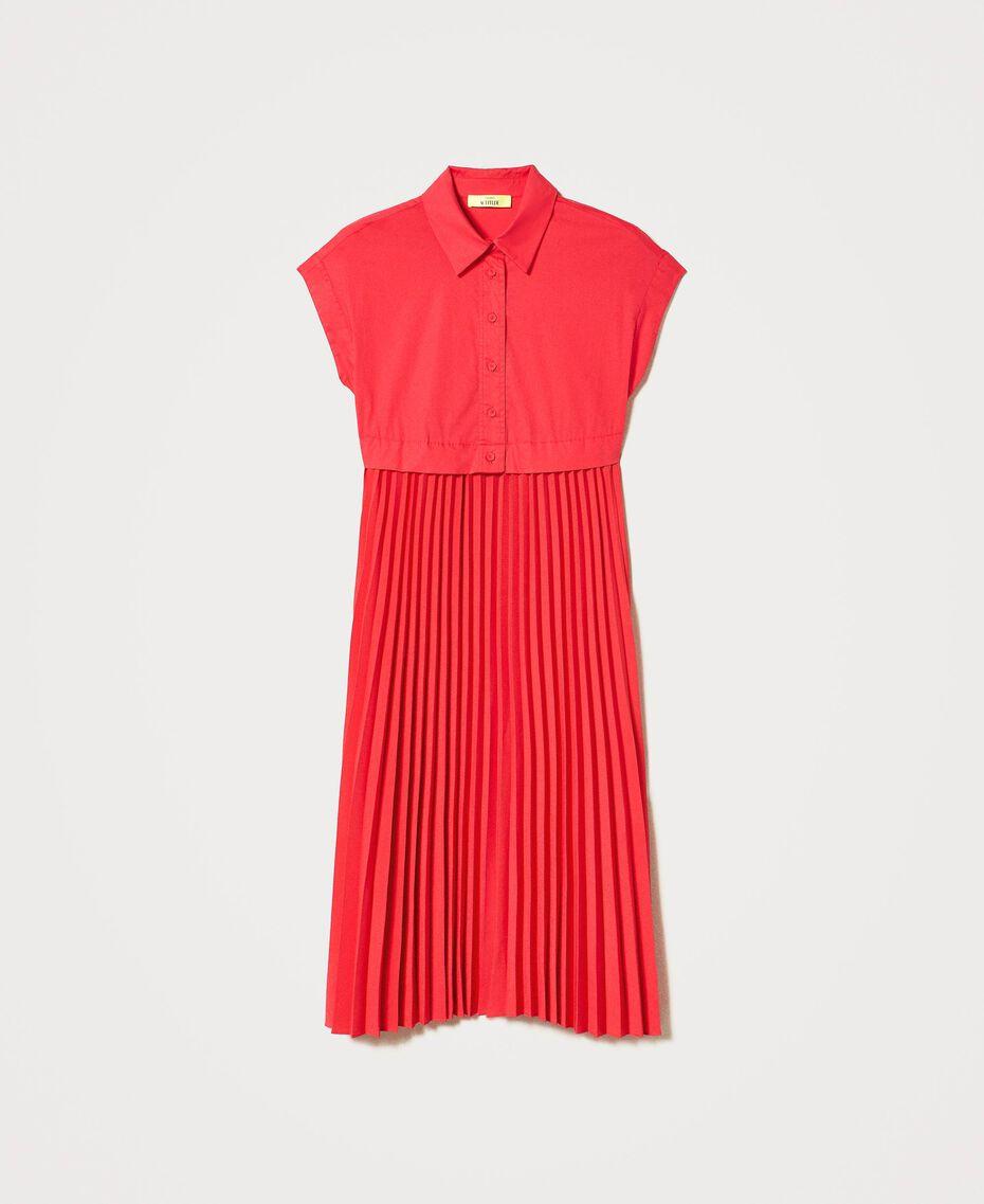 """Irena"" poplin long dress with pleats ""Coral Kiss"" Red Woman 211MT2092-0S"
