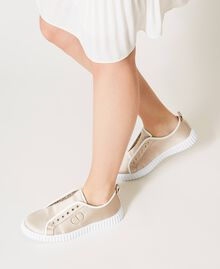 Satin trainers with logo Incense Beige Woman 211TCT118-0S