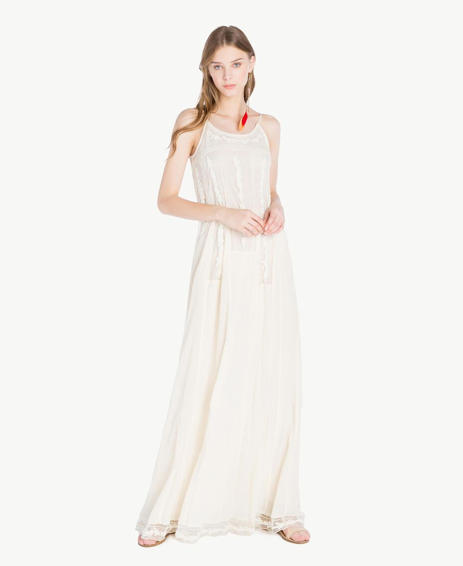 Long embroidered dress Ivory Woman TS82BD-01