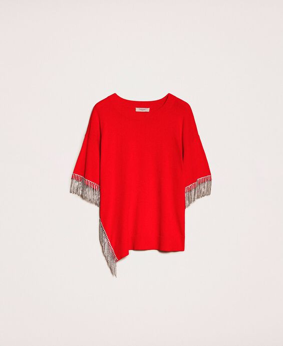 Maxi jumper with rhinestone fringes