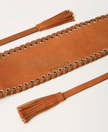 Bindegürtel aus Leder mit Ösen Schwarz Frau 211TO506C-03