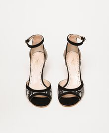 Sandalette aus Leder mit Pythonprägung Zweifarbig Print Python Helles Felsengrau / Schwarz Frau 201TCP022-05