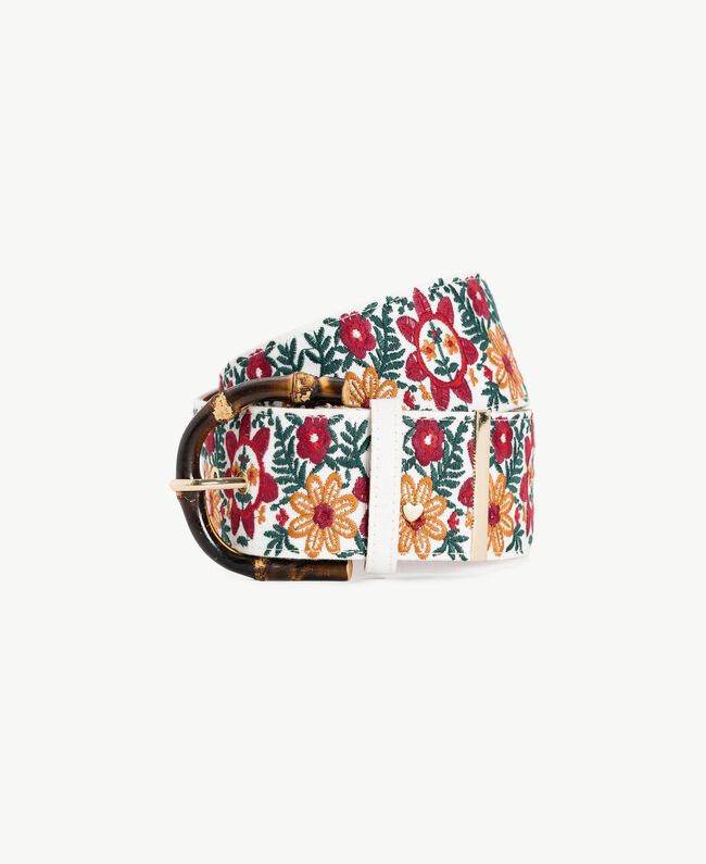 Ceinture jacquard Broderie Multicolore Rubis / Tabac / Ivoire Femme OS8T1A-01