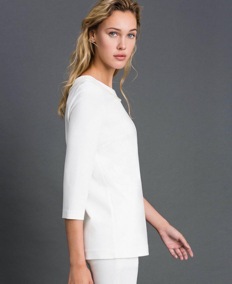 Blouse avec broderie de perles Blanc Neige Femme 192TP2080-02