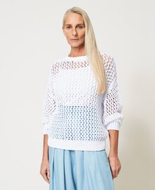 Maxi maglia a rete Bianco Donna 211MT3261-02