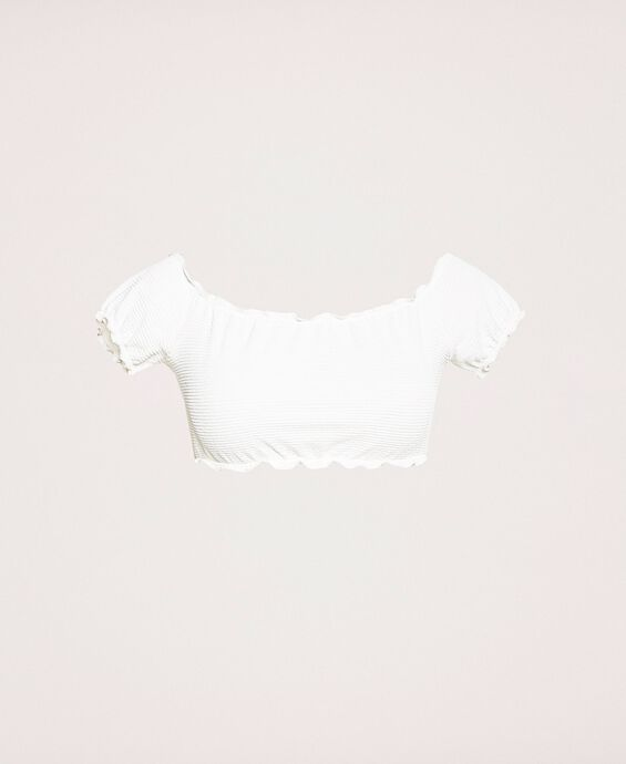 Embossed fabric top with ruffles