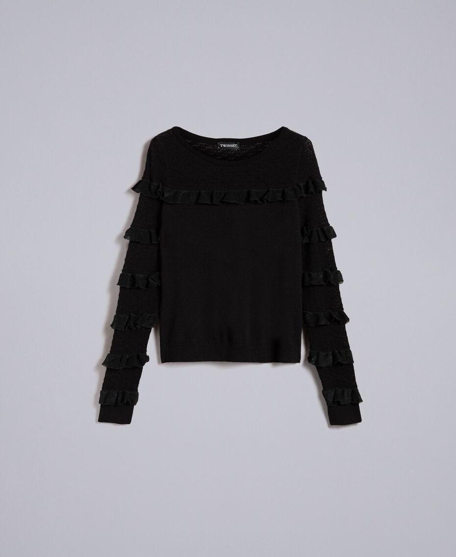 Pullover mit Passe und Ärmeln aus Spitze Schwarz Frau PA83CP-0S