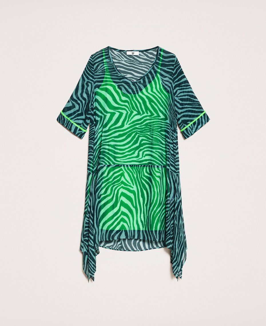 "Georgette animal print dress ""Atlantic Deep"" Green Zebra Print Woman 201LB2GGG-0S"