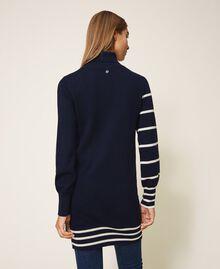 Maxi maglia a righe Rigato Space Blue / Bianco Sugar Donna 202ST3110-03