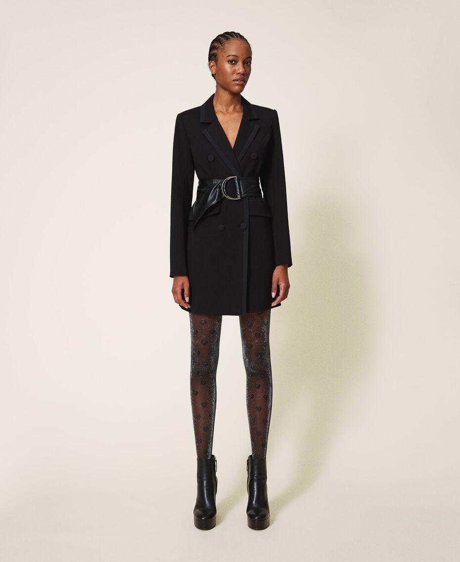 Blouson long avec détails en crêpe de Chine Noir Femme 202MP2291-01