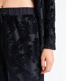 Pantalon en velours jacquard dévoré Noir Femme LA8JEE-04