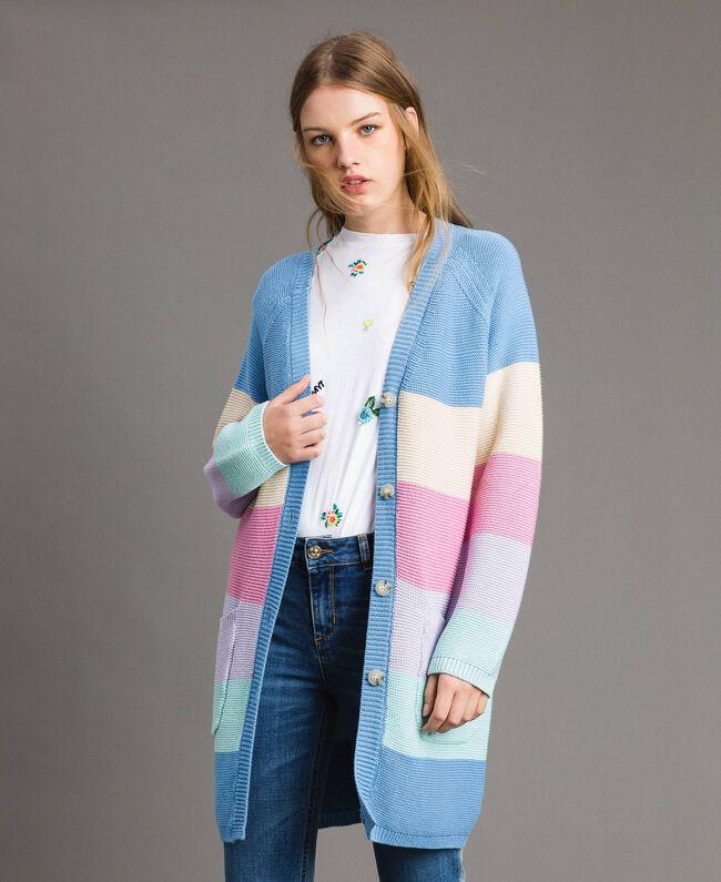 Maxi cardigan rayé Multicolore Couleur Pastel Femme 191MP3010-03
