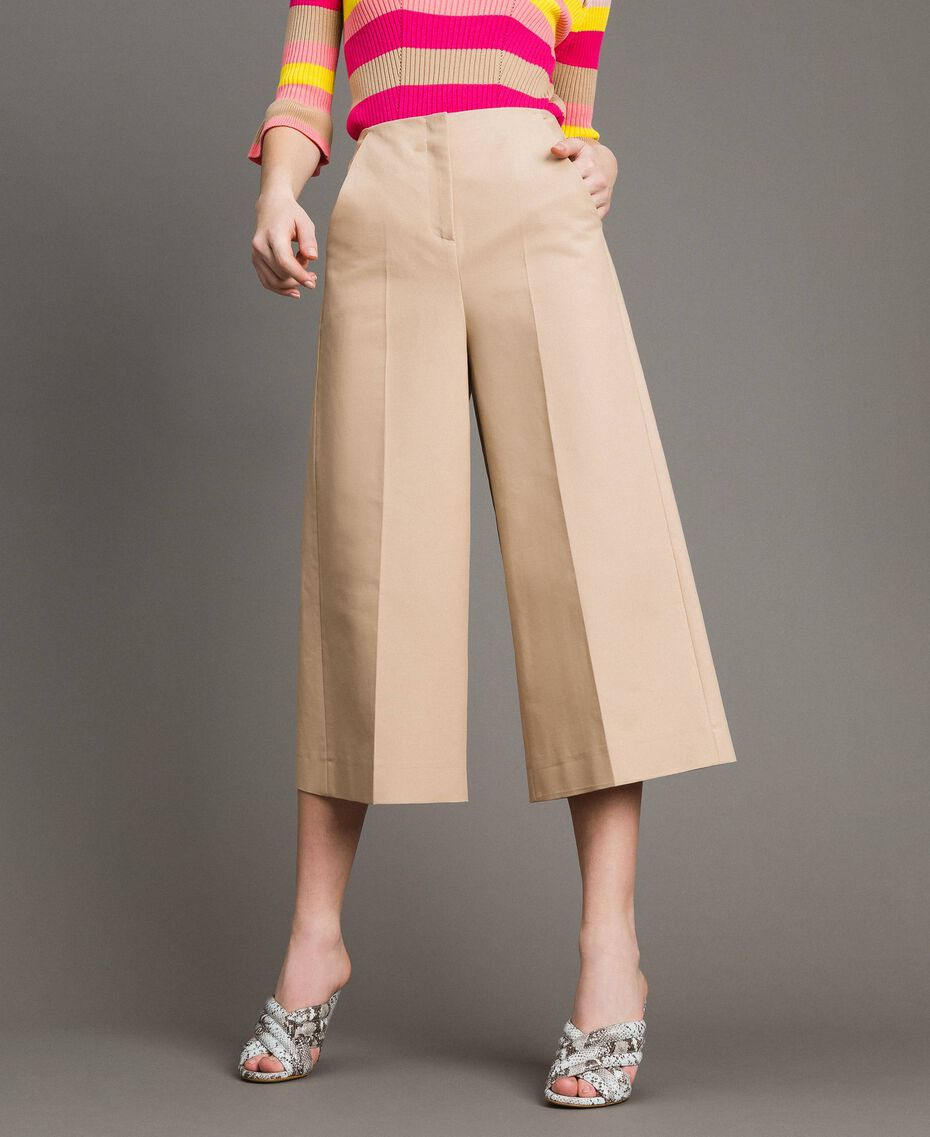 Cropped technical cotton trousers Nougat Beige Woman 191TP2184-02