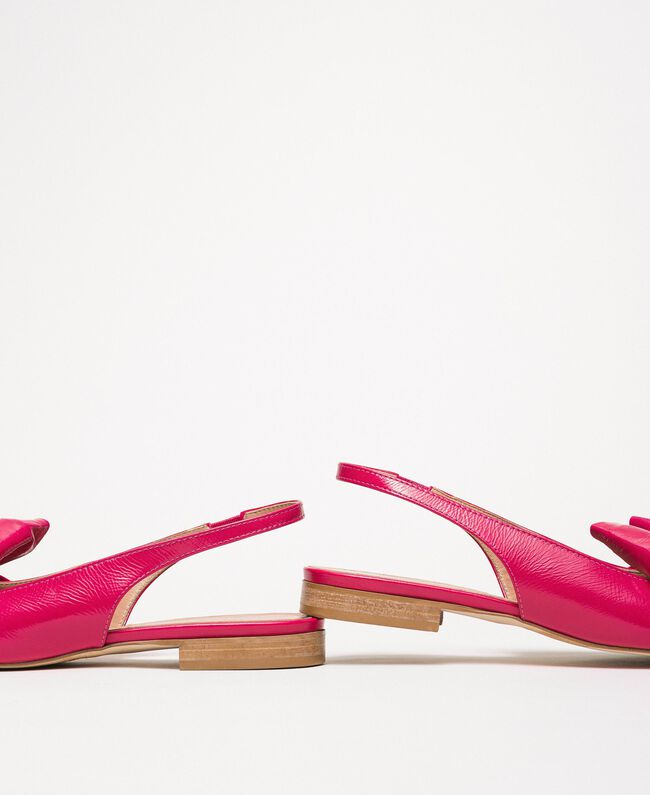Patent leather ballerina pumps with bow Black Cherry Woman 201TCP110-04