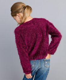 Pull en point fourrure Violet Raisin Doux Enfant GA83D2-03
