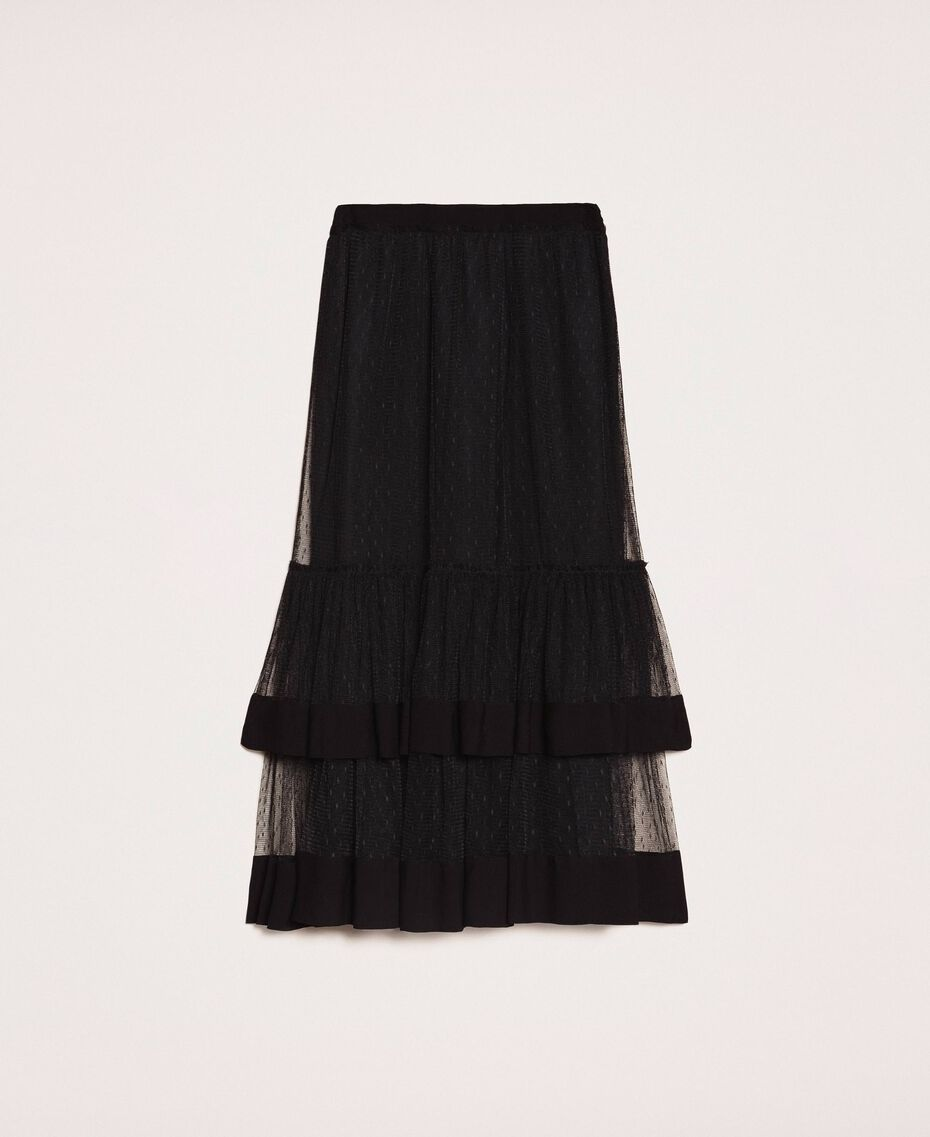 Crêpe de Chine skirt with plumetis tulle Black Woman 201TP2372-0S