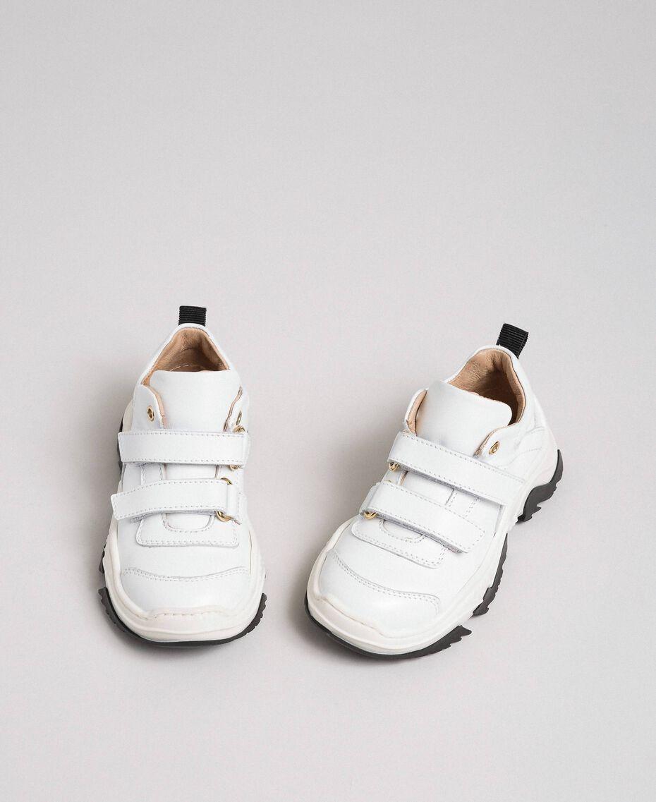 Sneakers in pelle con strap Bianco Bambina 192GCB020-02