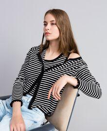 Cardigan à rayures bicolores avec ruches Rayure Noir / Blanc Nacre Femme JA83BR-0T