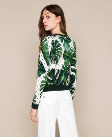 Maglia stampata con ricamo Stampa Tropical Pois Verde Donna 201TP3266-03