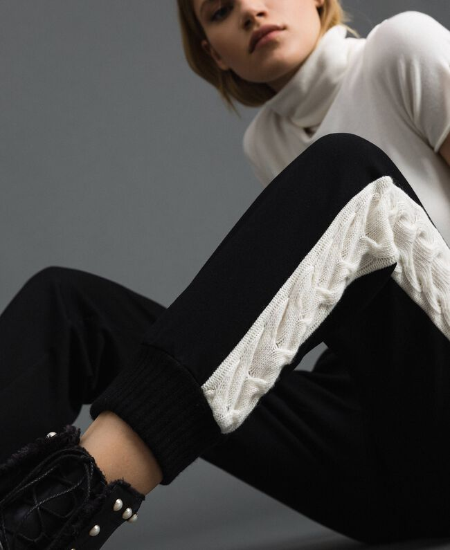 """Jogging trousers with knit inlay Bicolour Black / """"Snow"""" White Woman 192TP2124-01"""