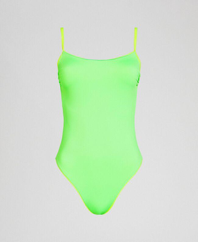 One-piece swimsuit with shoulder straps Fluorescent Orange / Fluorescent Blue Woman 191TQM025-01