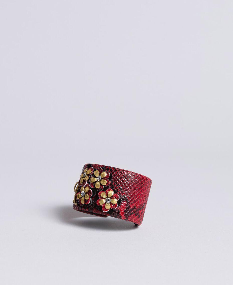 Rigid bracelet in animal print leather Burgundy Snake Print Woman AA8P7A-01