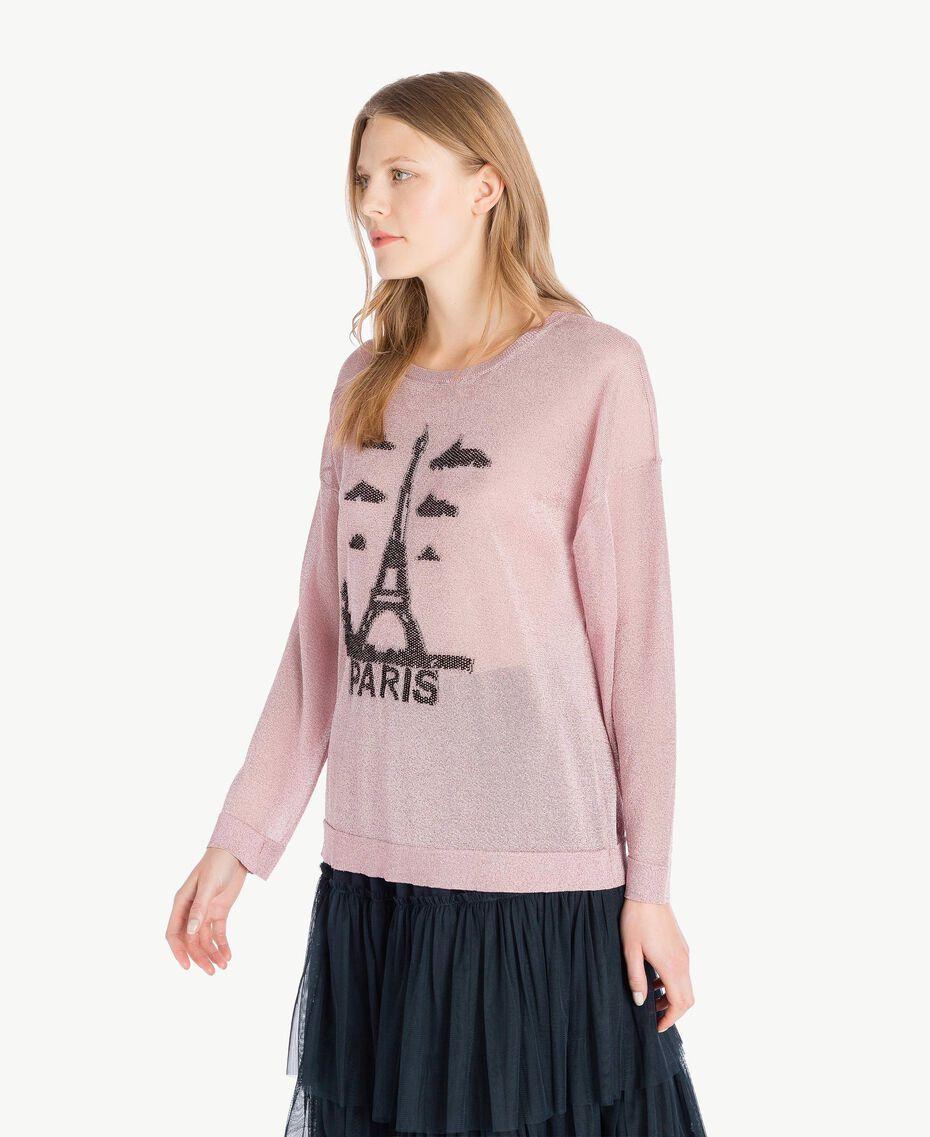 Pullover aus Lurex Lurex Hortensienrosa Frau PS83Y3-02