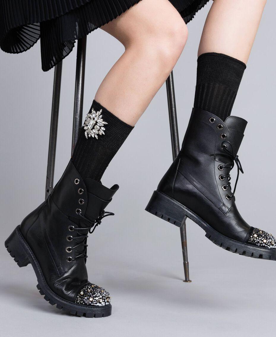 Chaussettes agrémentées de pierres Noir Femme QA8TKE-0S
