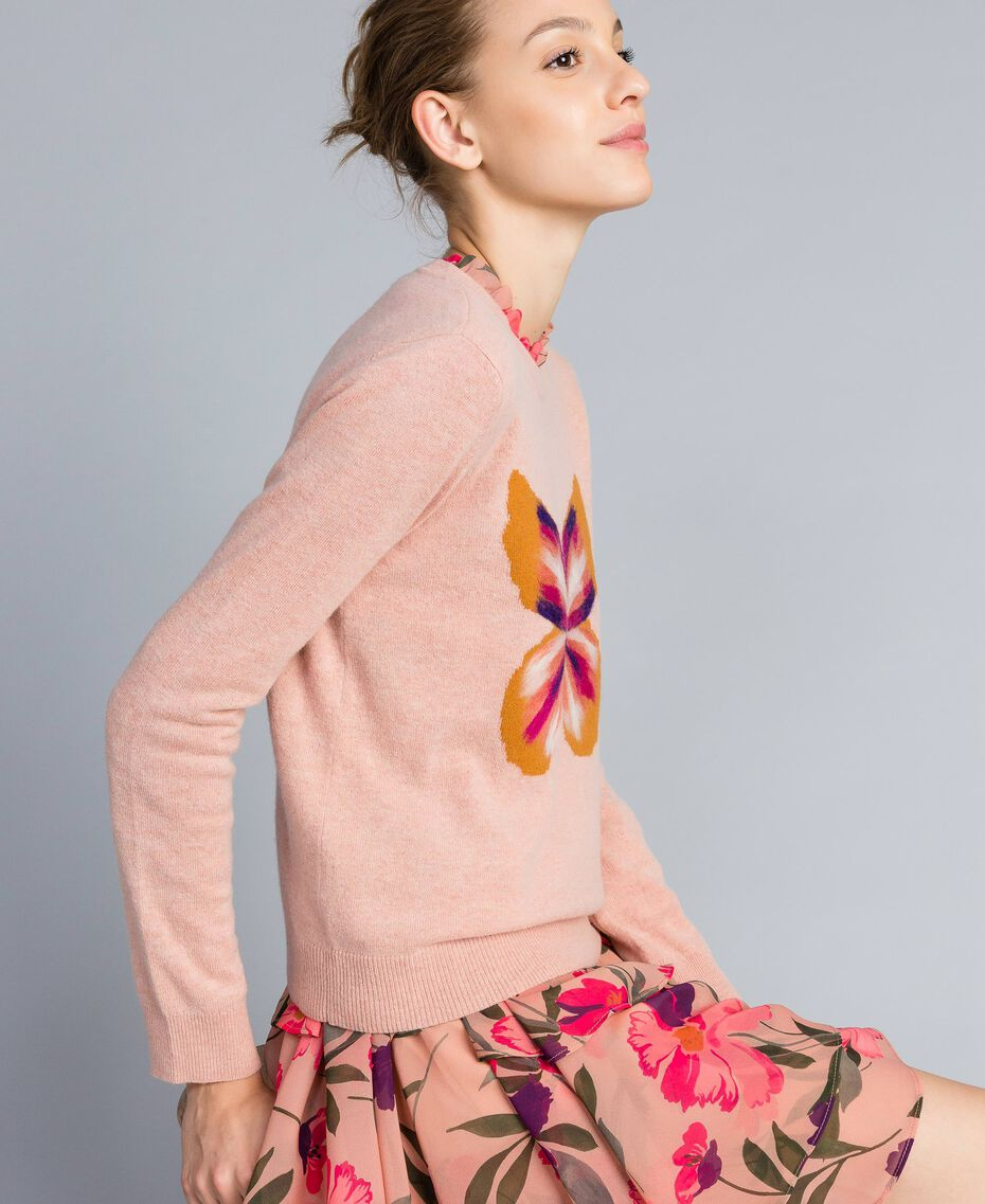 """Wool blend embroidered jumper """"Pale Pink"""" Butterfly Needle Punch Embroidery Woman TA83JD-02"""