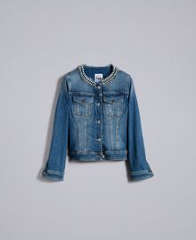 Denim jacket with pearls and bezels Denim Blue Woman JA82Z2-0S