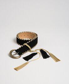 Ceinture taille haute effet cuir velours Noir Femme 192TO5341-01