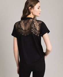 Lace and rhinestones T-shirt Black Woman 191TP2603-04