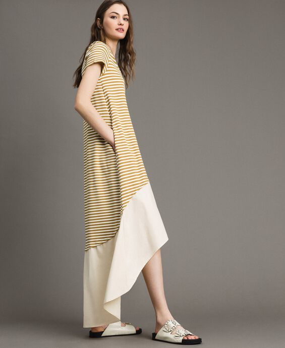 Striped long dress with flounce