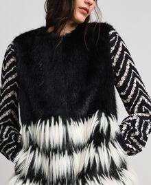 Gilet en fausse fourrure bicolore Noir Femme 192TP2390-04