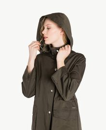 Ruffled parka Army Green Woman PS824Q-05