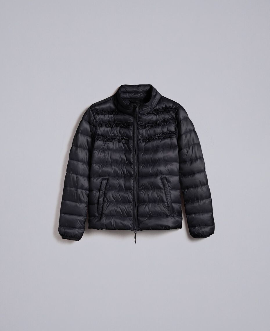 Short shiny nylon padded jacket with ruches Black Woman PA82GS-0S