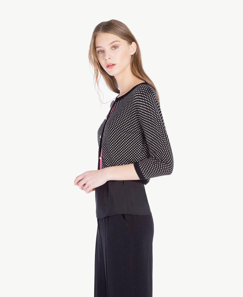 Pearl mandarin collar top Polka Dot Print Woman PS83LD-02