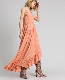 Asymmetric crêpe de Chine dress Mousse Pink Woman 192TP2384-05