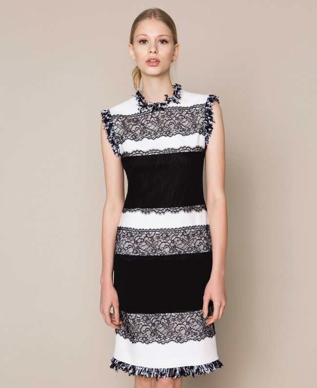 Двухцветное платье-футляр с кружевом. Белый / Черный женщина 201TQ2070-01