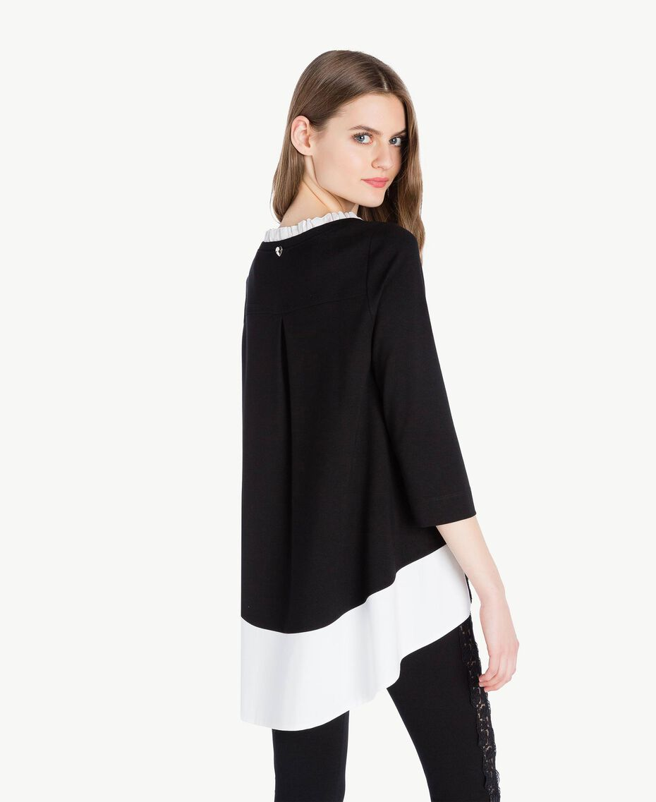 Ruched blouse Black Woman PS828H-03