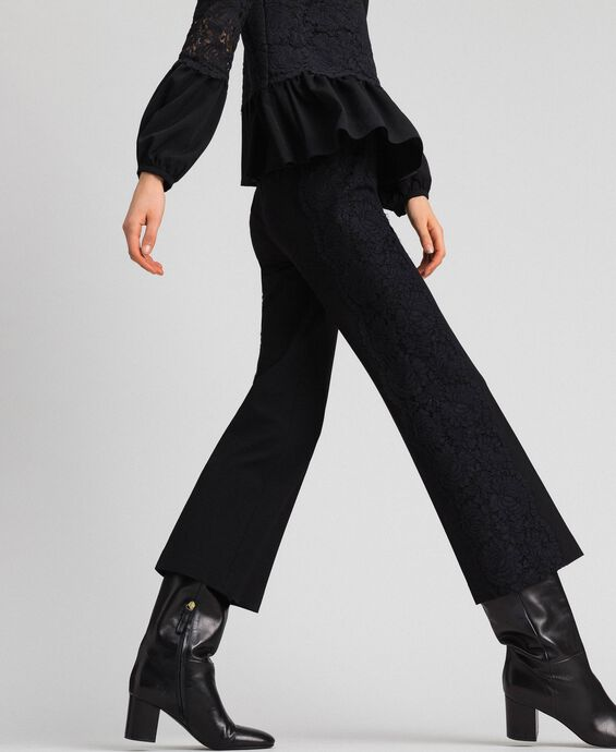 Cropped trousers with lace