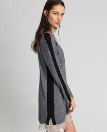 Robe avec bandes en lurex et fond de robe Gris moyen chiné Femme 192MP3100-02