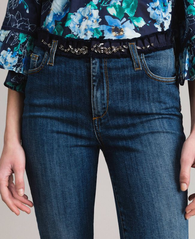 Grosgrain embroidered skinny jeans Denim Blue Woman 191MP2483-04