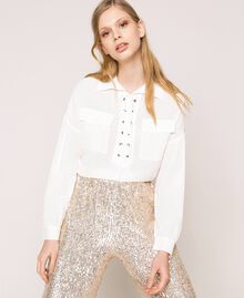 Silk blend top with braided ribbon White Snow Woman 201TP2508-01