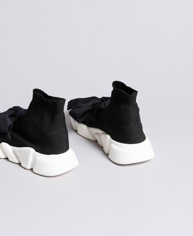 Baskets avec grand nœud Noir / Noir Femme DA8PSA-03