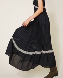 Pleated long dress with lace Black Woman 202TP2133-03