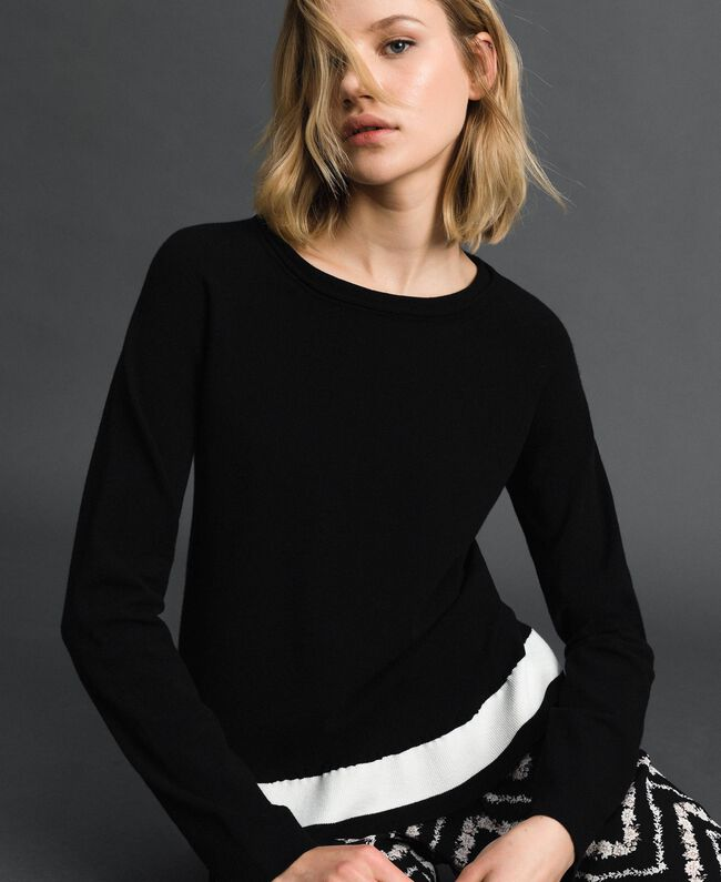 """Contrasting band jumper Black / """"Papyrus"""" White Woman 192TP3104-01"""